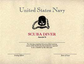 NAVY SCUBA DIVER CERTIFICATE DRIVER LICENSE ORIGINAL FORMAT, DESIGN SPECIFICATIONS, NOVELTY SECURITY CARD PROFILES, IDENTITY, NEW SOFTWARE ID SOFTWARE NAVY SCUBA DIVER CERTIFICATE driver